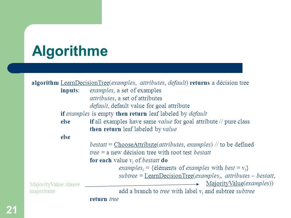 Algorithme algorithm LearnDecisionTree(examples, attributes, default) returns a décision tree. inputs: examples, a set of examples.