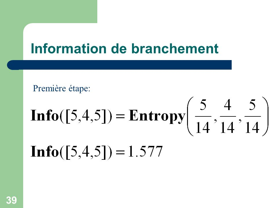 Information de branchement