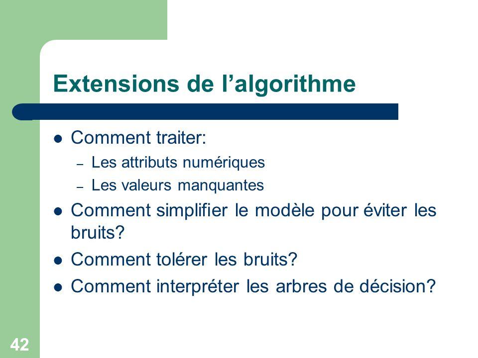 Extensions de l'algorithme