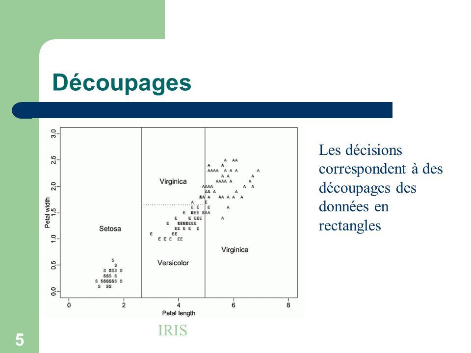 Découpages Les décisions correspondent à des découpages des données en rectangles IRIS