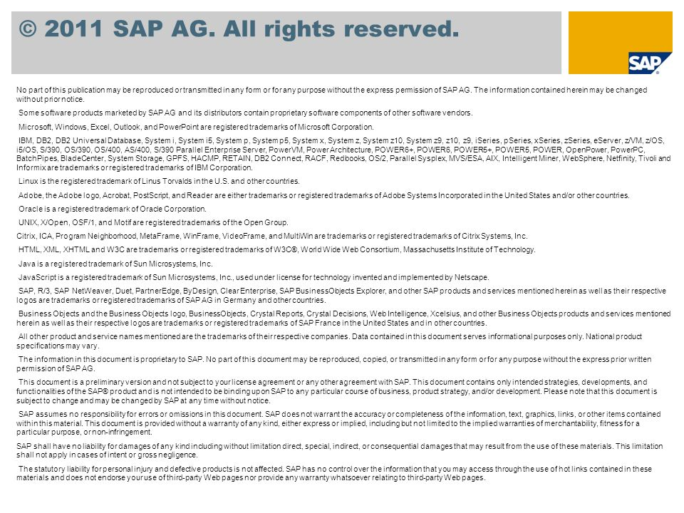 © 2011 SAP AG. All rights reserved.