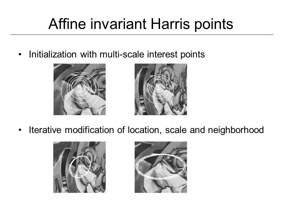 Affine invariant Harris points