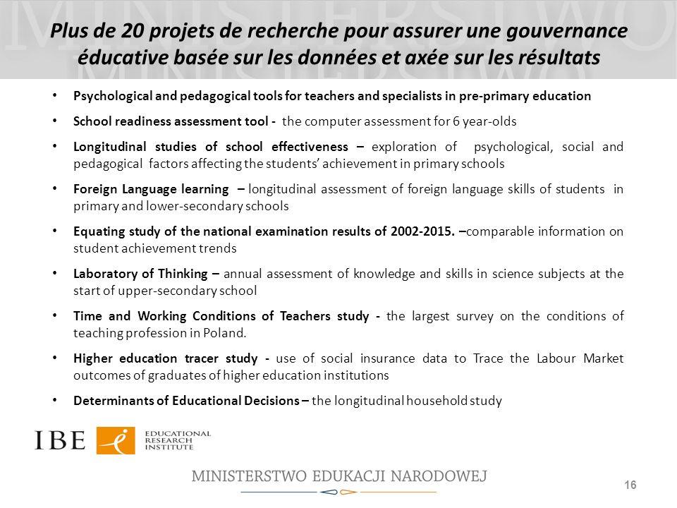Plus de 20 projets de recherche pour assurer une gouvernance éducative basée sur les données et axée sur les résultats