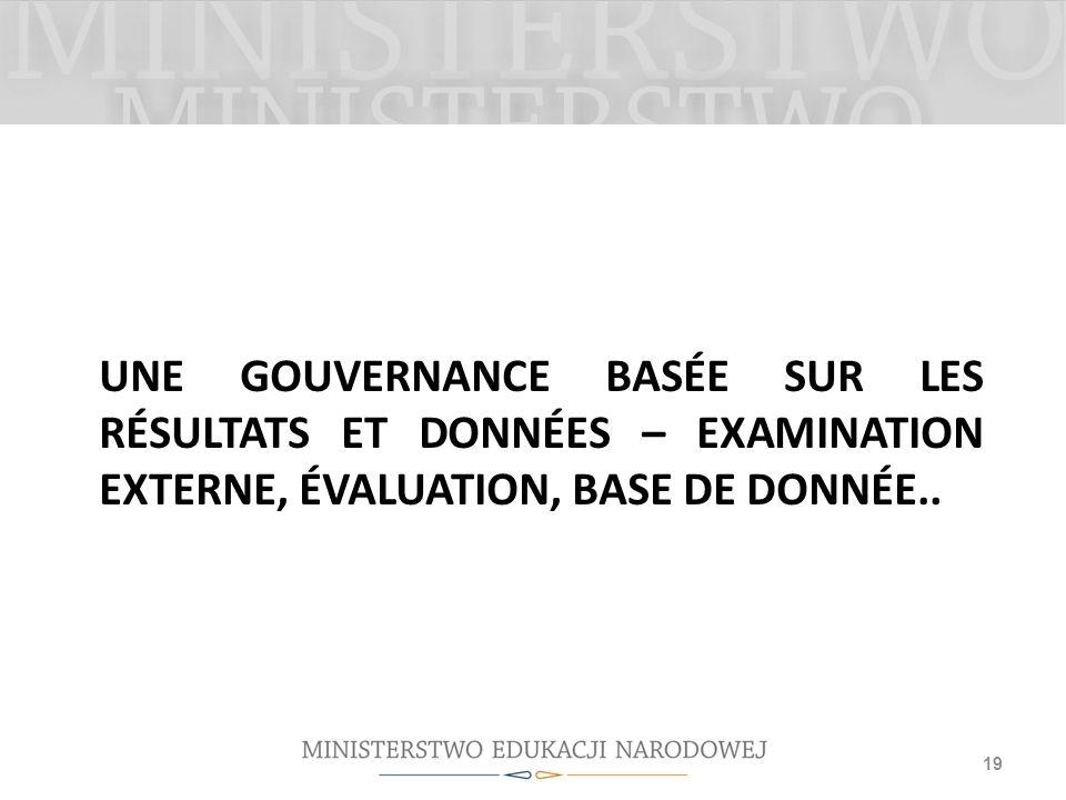 Une gouvernance basée sur les résultats et données – examination externe, évaluation, base de donnée..