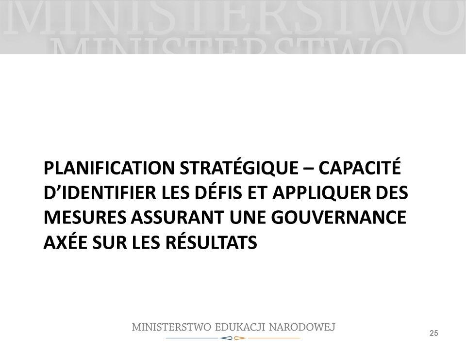 Planification stratégique – capacité d'identifier les défis et appliquer des mesures assurant une gouvernance axée sur les résultats