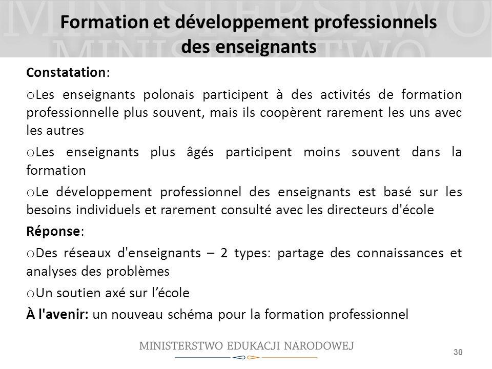 Formation et développement professionnels des enseignants