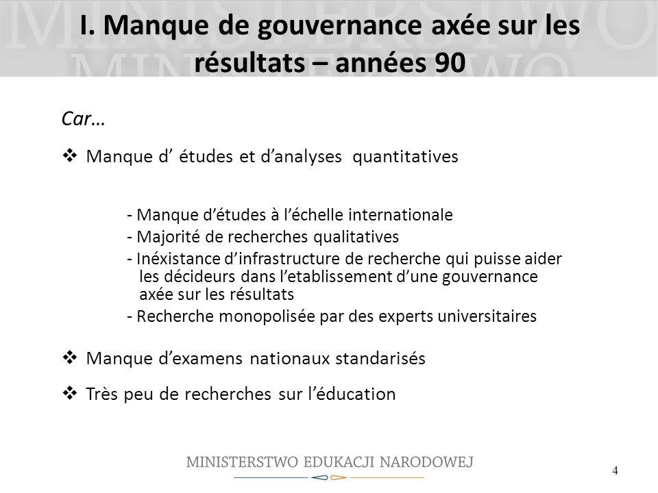 I. Manque de gouvernance axée sur les résultats – années 90