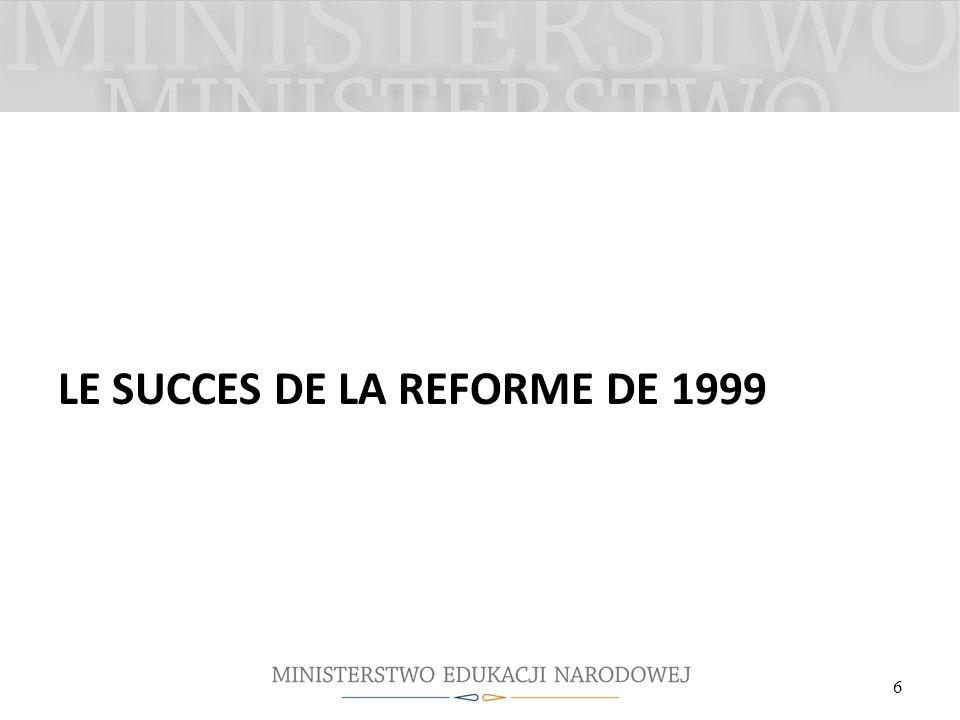 LE SUCCES DE LA REFORME DE 1999