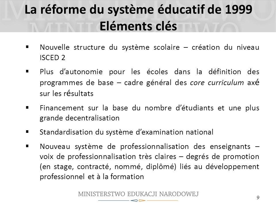 La réforme du système éducatif de 1999 Eléments clés