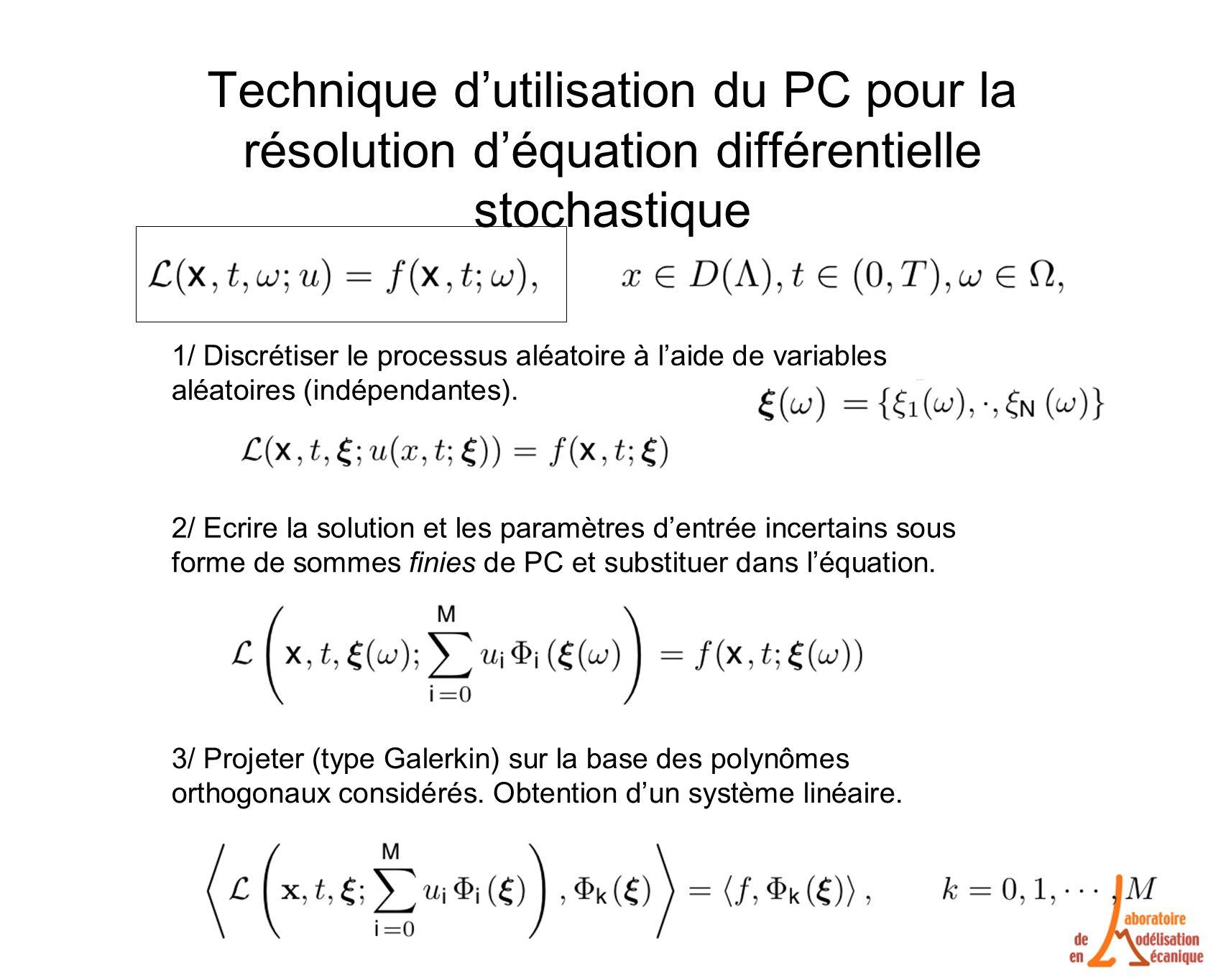Technique d'utilisation du PC pour la résolution d'équation différentielle stochastique