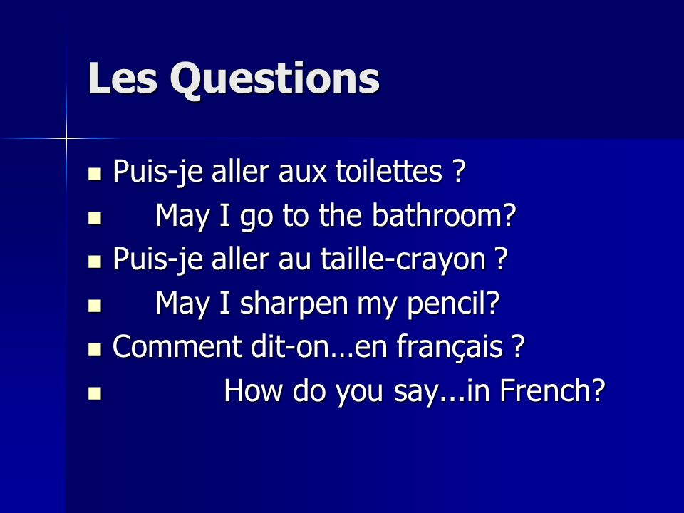 Les Questions Puis-je aller aux toilettes May I go to the bathroom