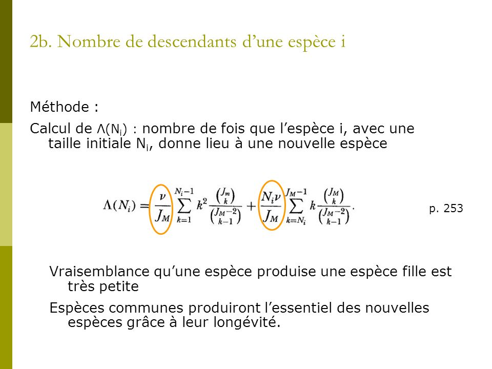 2b. Nombre de descendants d'une espèce i
