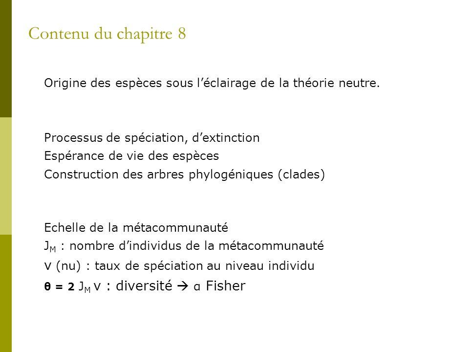 Contenu du chapitre 8 ν (nu) : taux de spéciation au niveau individu