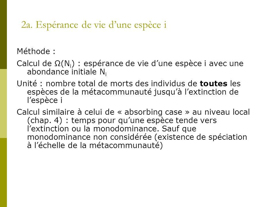 2a. Espérance de vie d'une espèce i