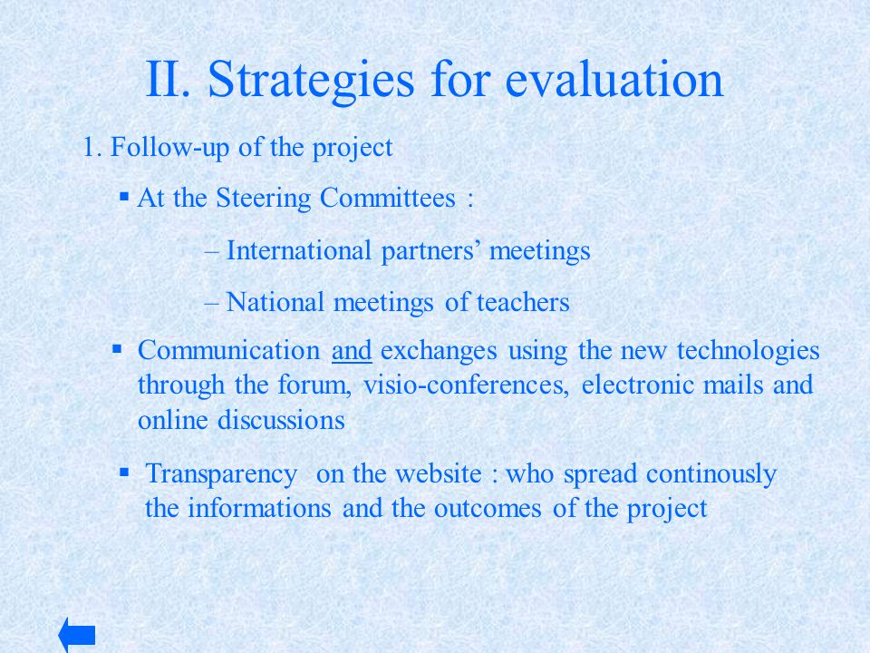 II. Strategies for evaluation