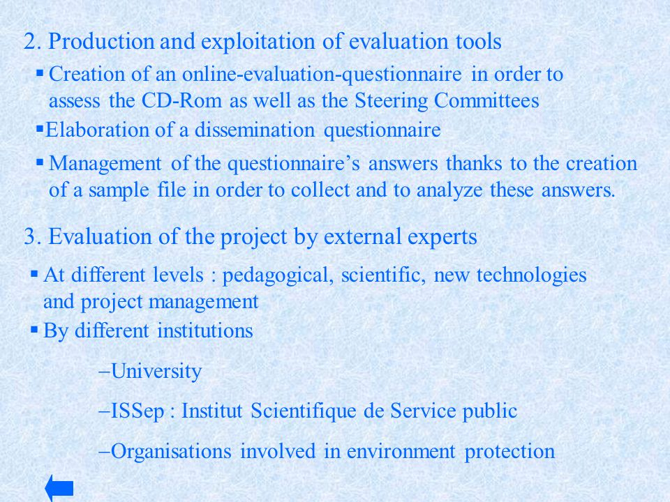 2. Production and exploitation of evaluation tools