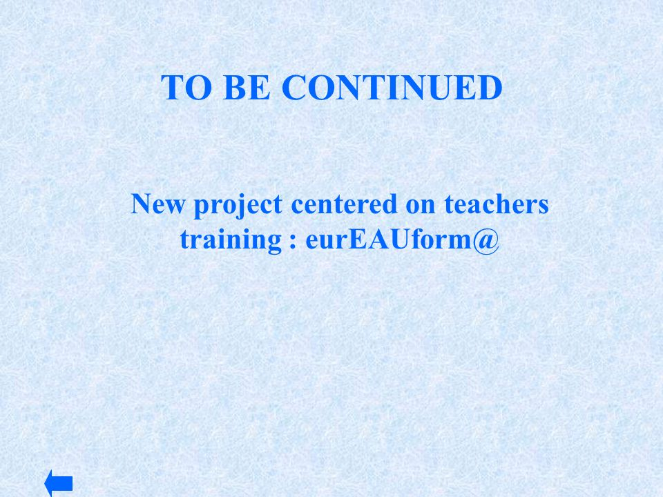 New project centered on teachers training : eurEAUform@