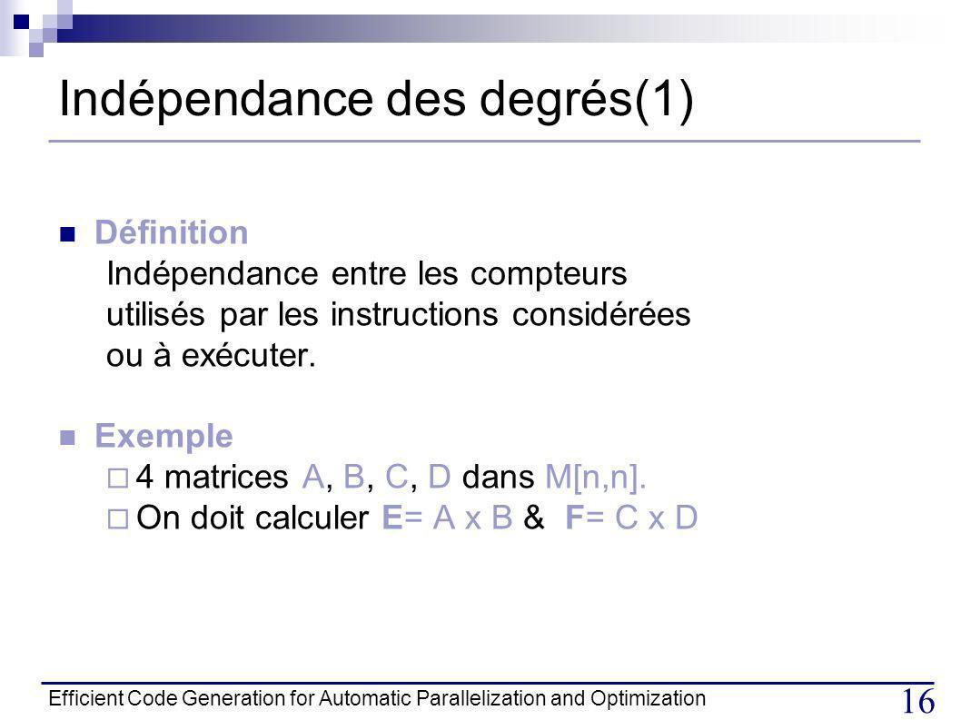 Indépendance des degrés(1)