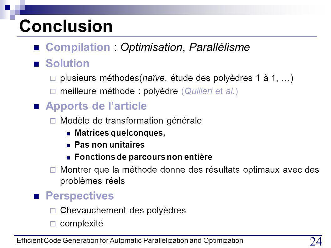 Conclusion Compilation : Optimisation, Parallélisme Solution