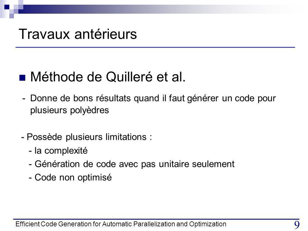 Travaux antérieurs Méthode de Quilleré et al.
