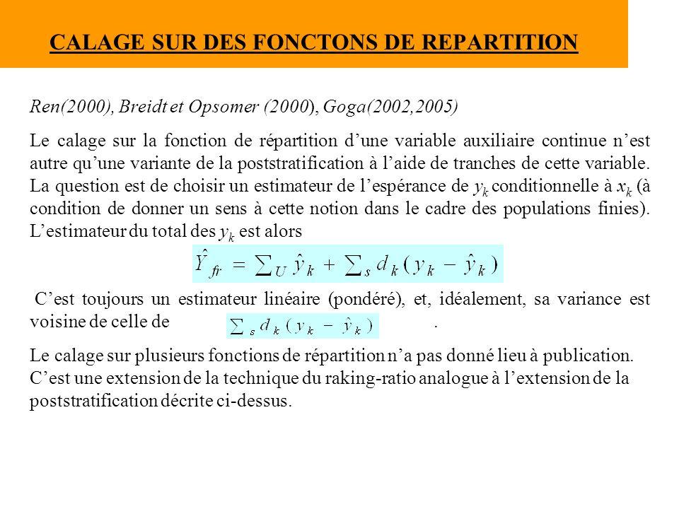 CALAGE SUR DES FONCTONS DE REPARTITION