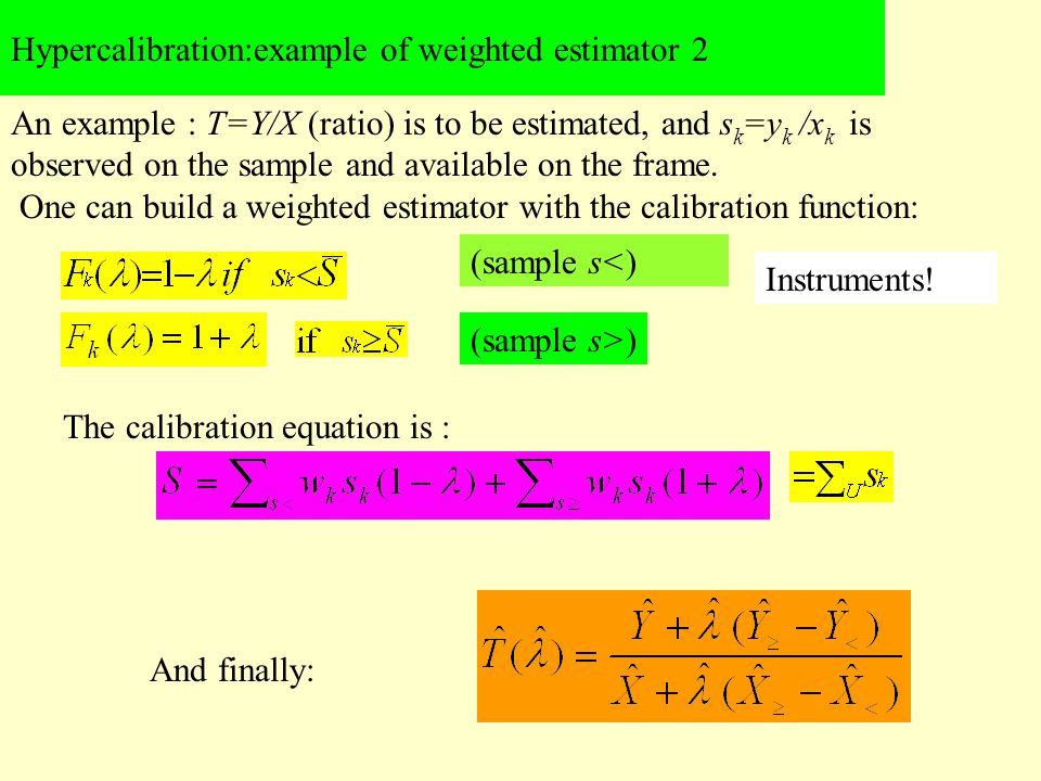 Hypercalibration:example of weighted estimator 2