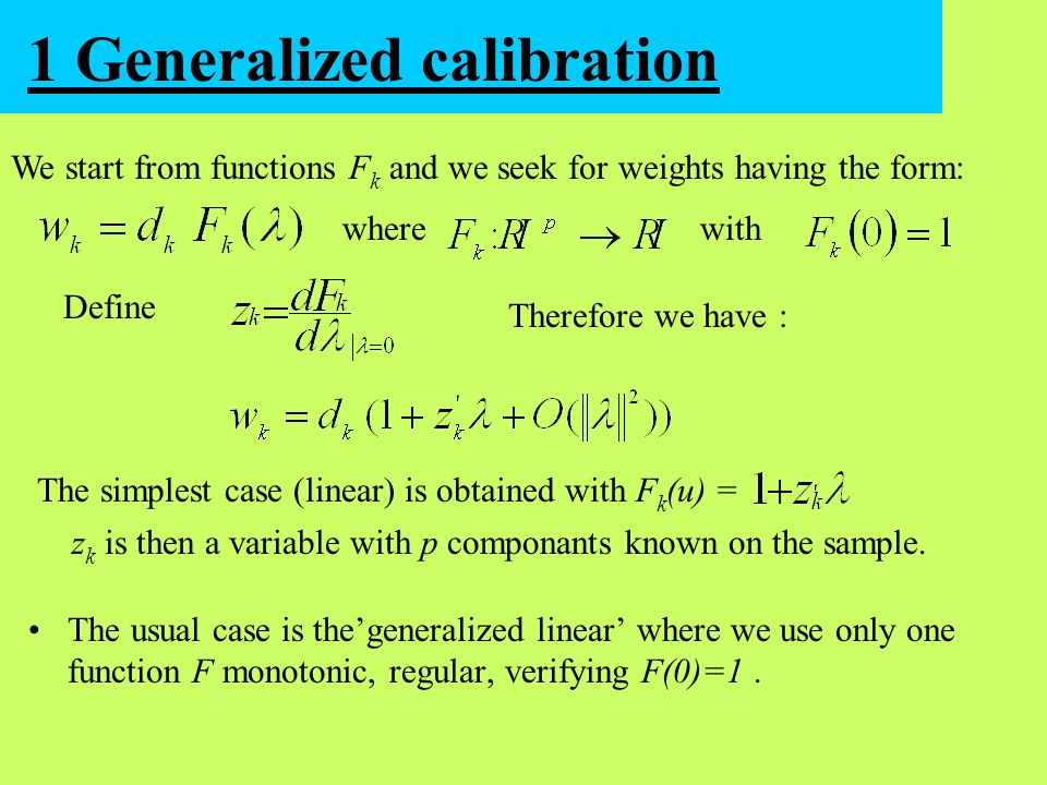 1 Generalized calibration