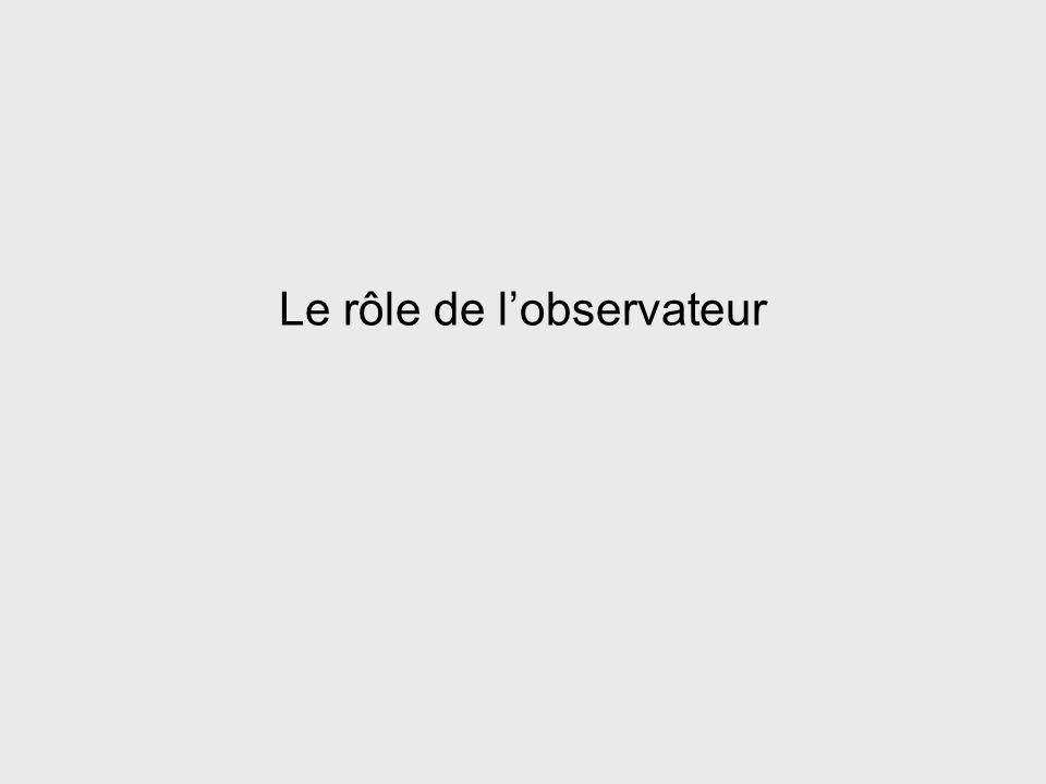 Le rôle de l'observateur