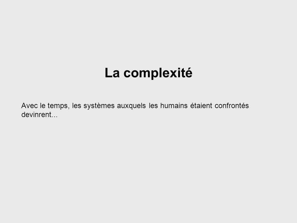 Systems Complexity La complexité. Avec le temps, les systèmes auxquels les humains étaient confrontés devinrent...