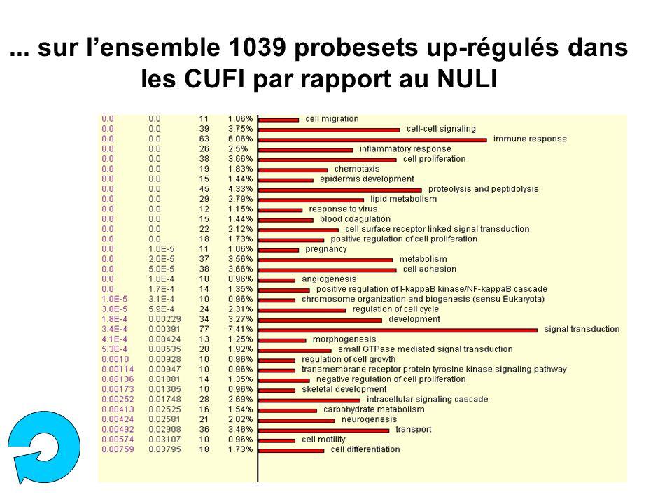 ... sur l'ensemble 1039 probesets up-régulés dans les CUFI par rapport au NULI