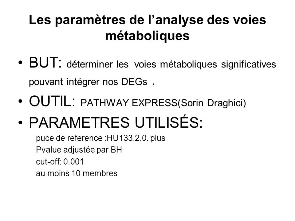Les paramètres de l'analyse des voies métaboliques