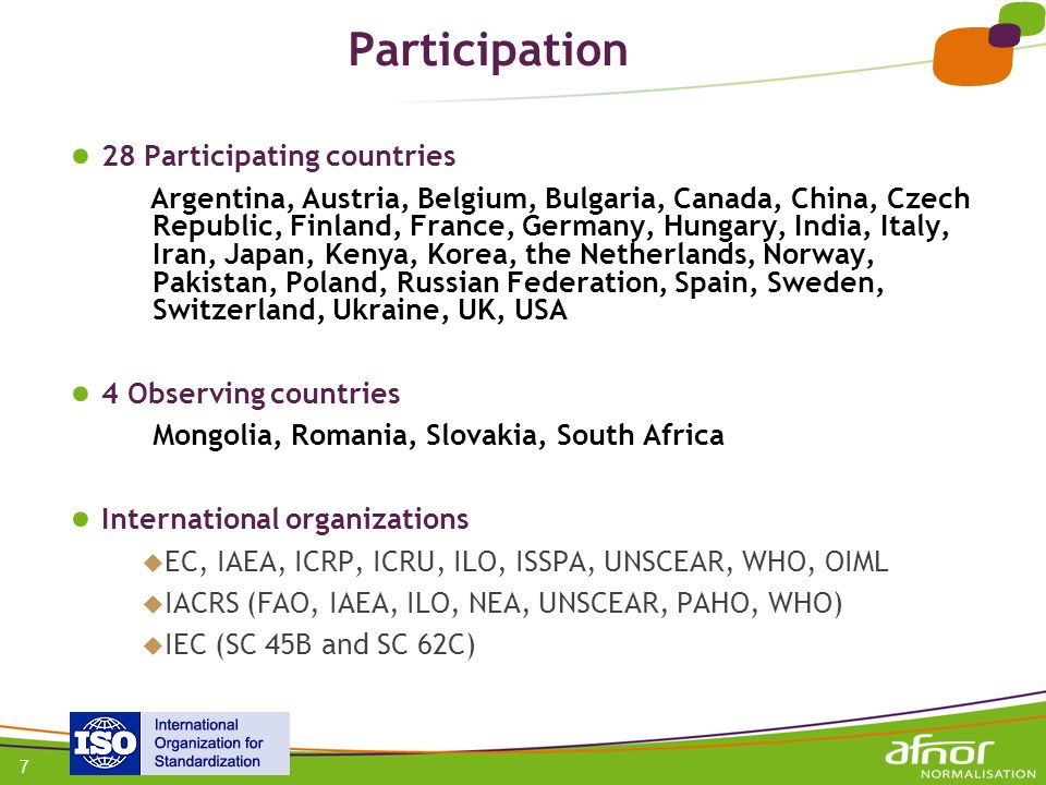 Participation 28 Participating countries