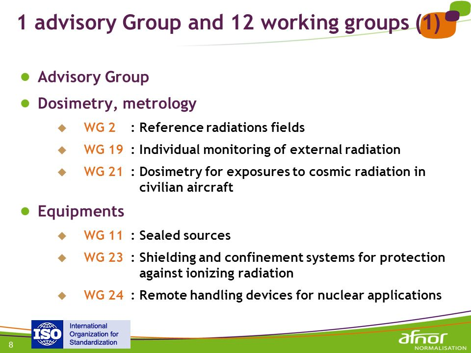 1 advisory Group and 12 working groups (1)