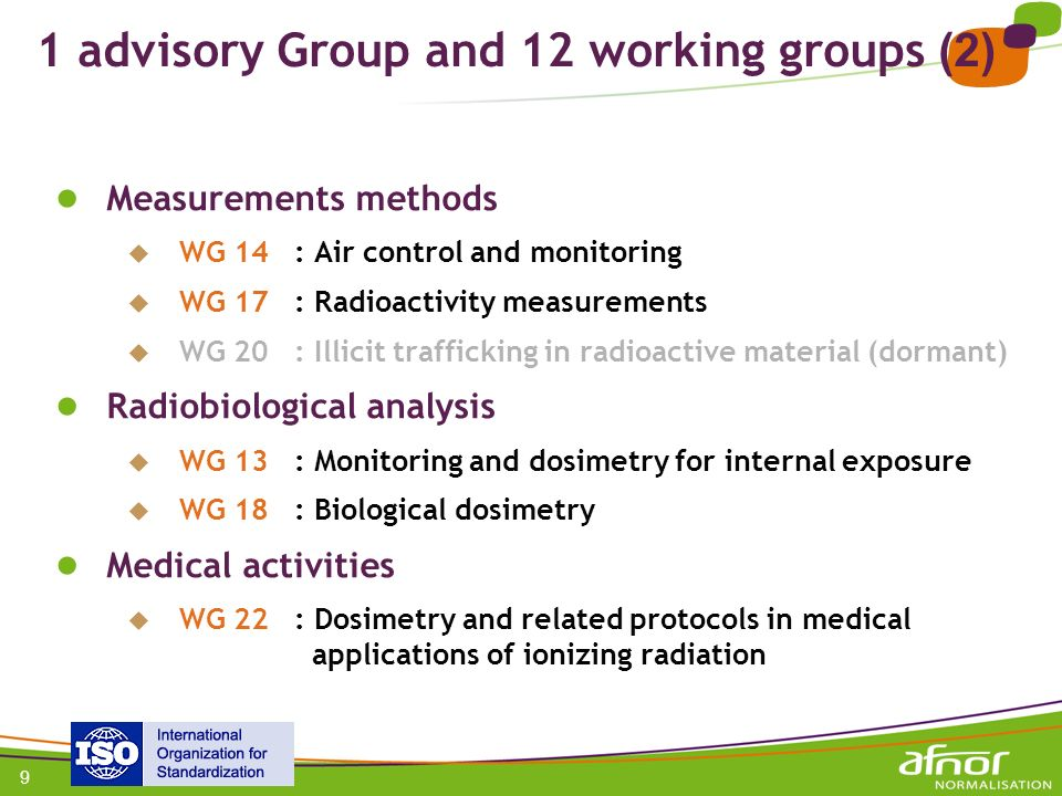 1 advisory Group and 12 working groups (2)