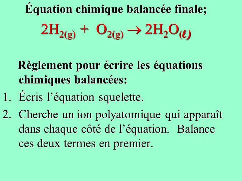 Équation chimique balancée finale;
