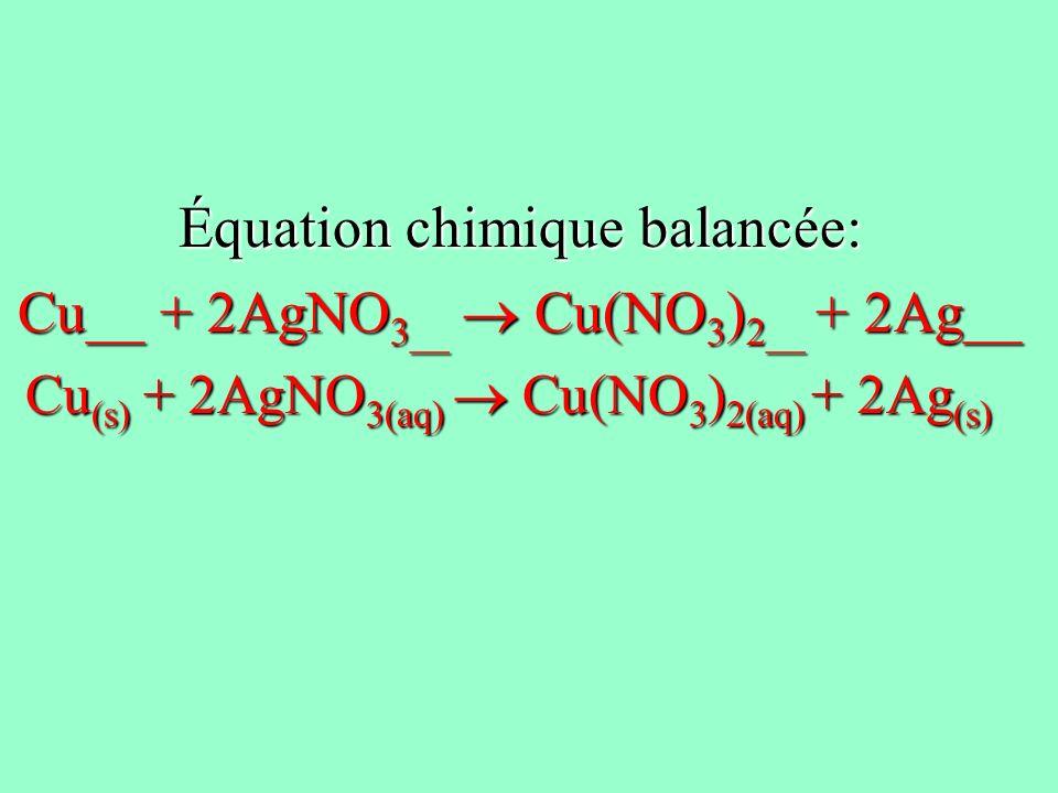 Équation chimique balancée: Cu__ + 2AgNO3__  Cu(NO3)2__ + 2Ag__