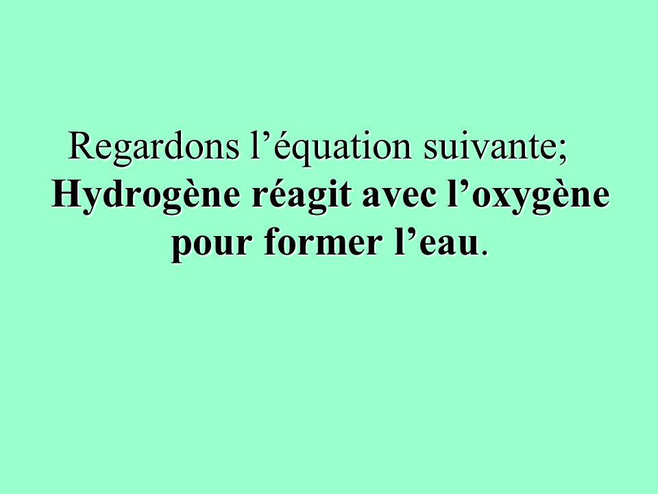 Regardons l'équation suivante; Hydrogène réagit avec l'oxygène pour former l'eau.