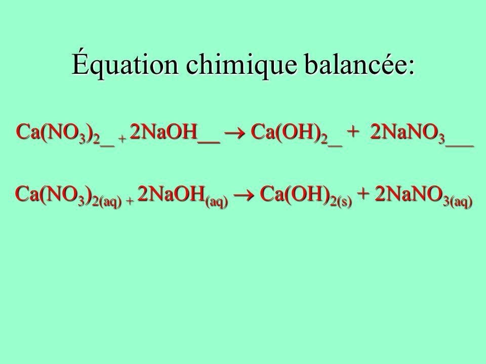 Équation chimique balancée:
