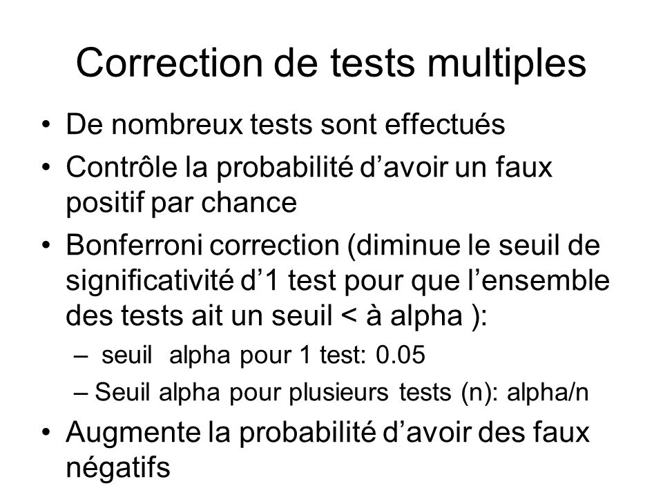 Correction de tests multiples