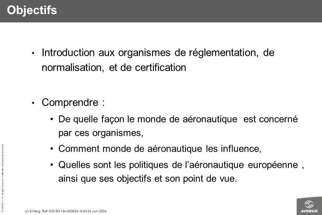 Objectifs Introduction aux organismes de réglementation, de normalisation, et de certification. Comprendre :