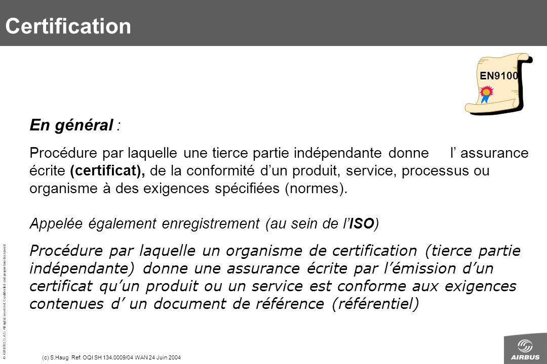 Certification 1.4 Qualification En général :