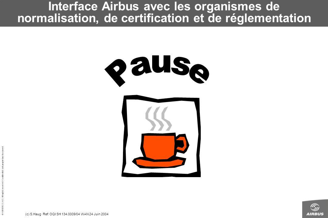 Interface Airbus avec les organismes de normalisation, de certification et de réglementation