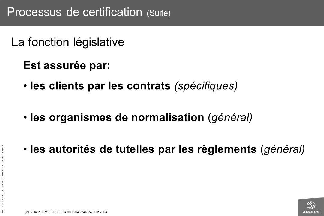 Processus de certification (Suite)