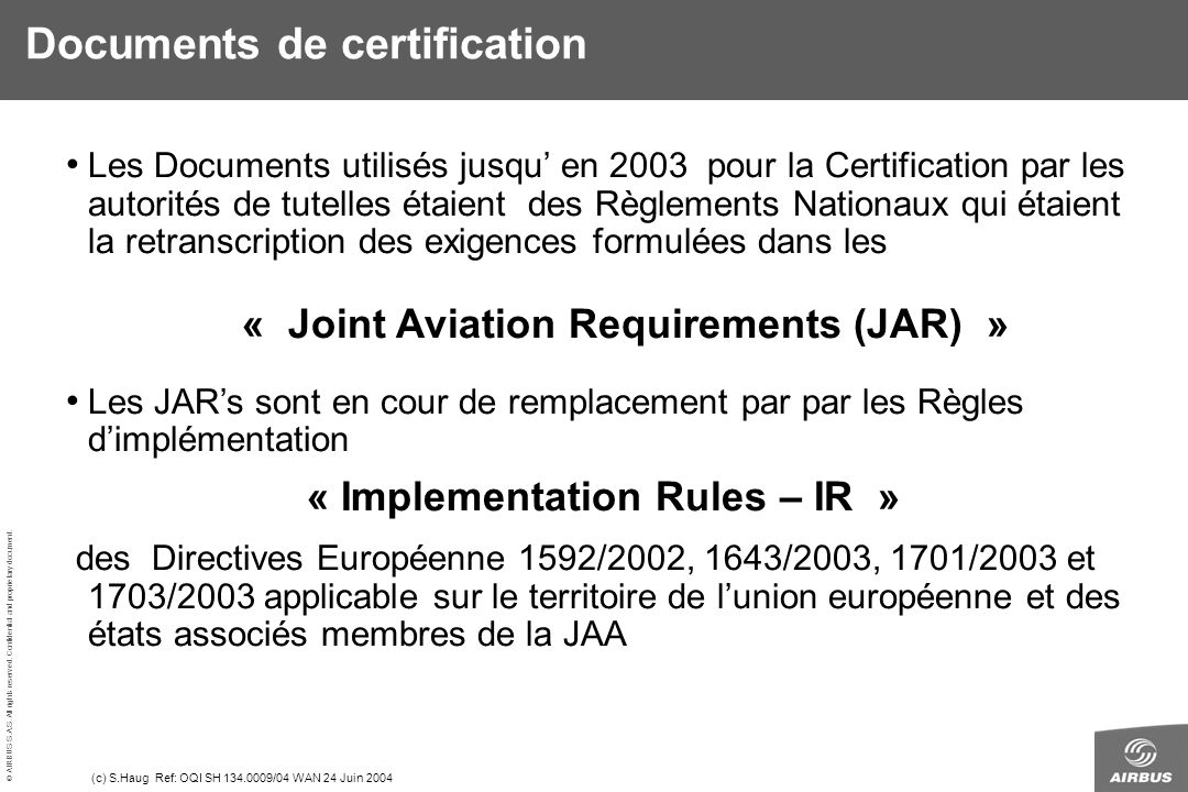 Documents de certification