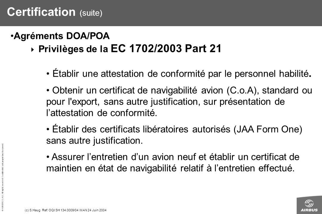 Certification (suite)