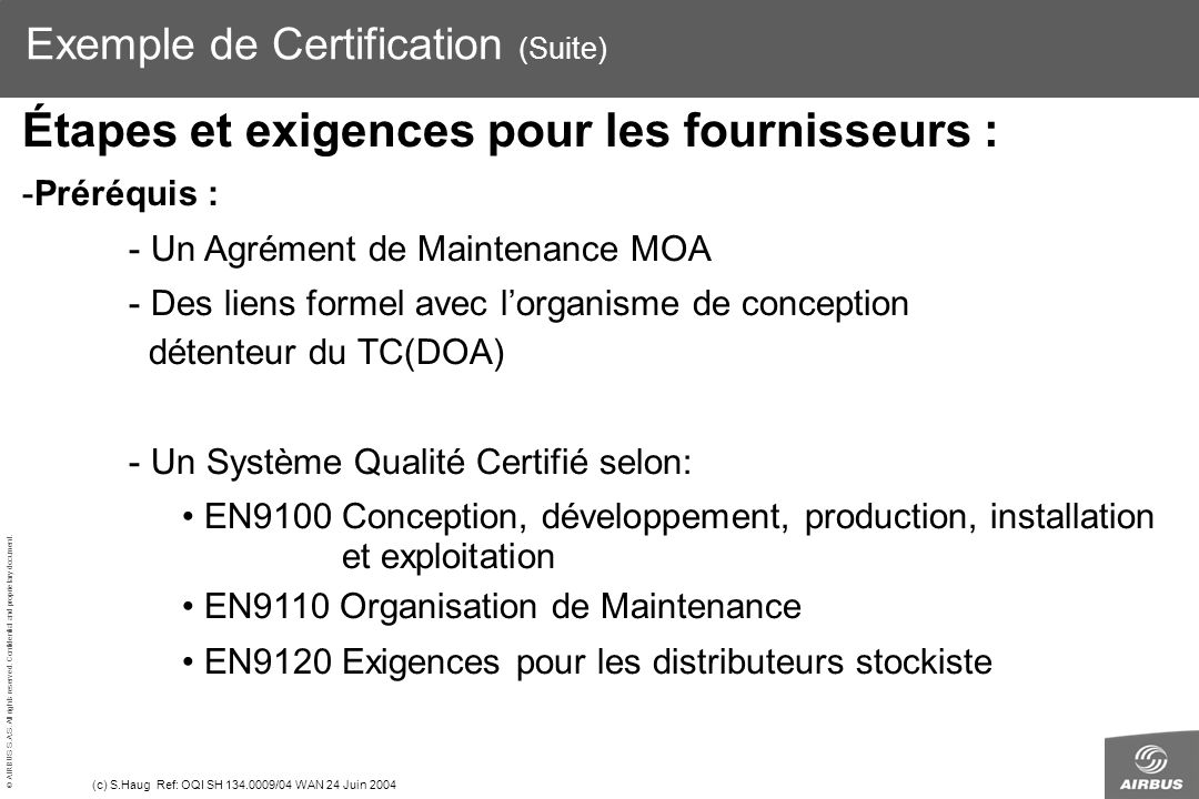 Exemple de Certification (Suite)