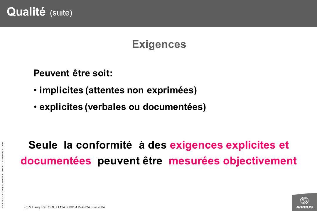 Qualité (suite) Exigences