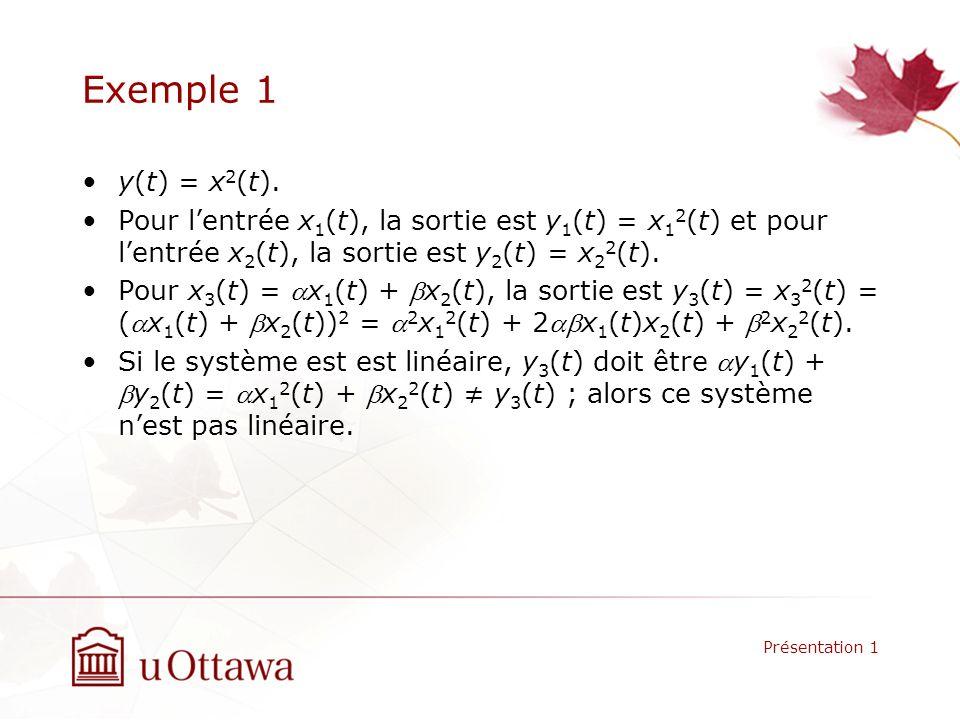 Exemple 1 y(t) = x2(t). Pour l'entrée x1(t), la sortie est y1(t) = x12(t) et pour l'entrée x2(t), la sortie est y2(t) = x22(t).