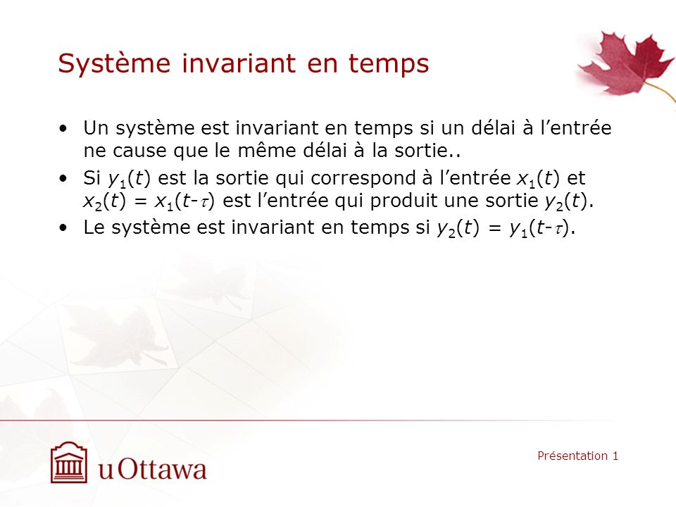 Système invariant en temps
