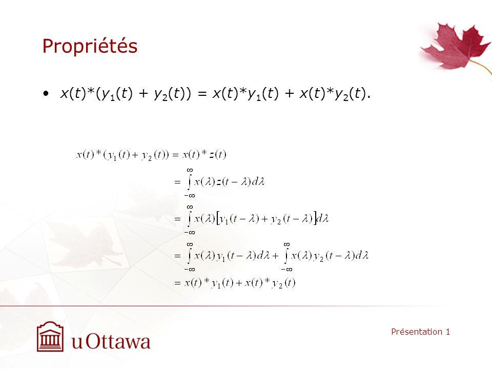 Propriétés x(t)*(y1(t) + y2(t)) = x(t)*y1(t) + x(t)*y2(t).